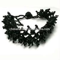 fashion nice black woven crystal bead adjustable bracelet