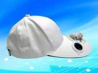 FREE SHIPPING/WHITE/SPORT/FASHION SOLAR POWERED FAN COOLING COOL BASEBALL HAT CAP