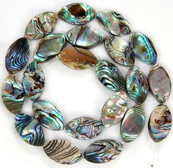 "Wholesale! 10x18MM Both Sides New Zealand MOP Abalone Shell Flat Loose Beads 15"", Free Shipping(China (Mainland))"