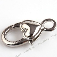 30PCS New Arrival Lobster Clasp Rhodium Tone Heart Shape Buckles jewerly Making FINDINGS 160349