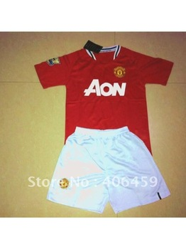 2012 M United home red jerseys kids soccer jerseys children soccer jerseys home team football kids jerseys Embroidery size XS-XL