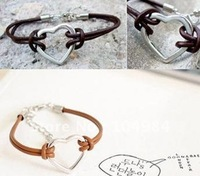Free Shipping ! Wholesale&Retail 50pieces/lot Mixed Colours Leather Charm Bracelet,Jewelry