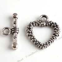 New Clasps jewerly Zinc Alloy  Clasp Tibet Silver Tone 40set IQ Heart Toggle Making FINDINGS 160335