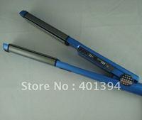 Freeshipping 10pc Brand professional blue titanium hair iron U style Pro Nano ceramic LED hair straightener,flat iron,hair iron