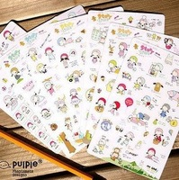 Free ship!!15set(105pc)!!South Korea Pulple cute girl PVC sticker set/mobile phone stickers/cartoon labels