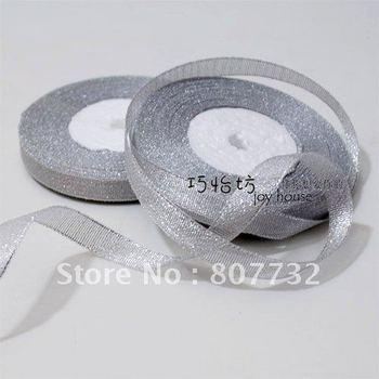 "Silver ribbon, 3/8"" (1cm) width, 25 yard length, giftbox tape, shipping free,wholesale"
