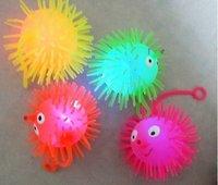 Freeshipping_20pcs/lot Christmas gift,LED flashing puffer ball, Venting ball, smile flare power Jumping Ball, elastic ball