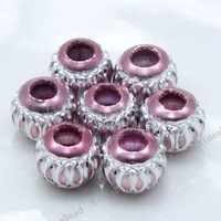 New Charms Pink Beads  Lantern aluminium  Jewelry Fit Bracelet and necklace 110705  120pcs/lot Free Shipping