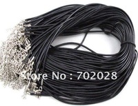 """Free shipping 100pcs 2.0mm Black Cloth Wax Line Necklace Cords 18"""""""