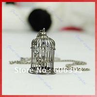 C18Antique Tone Birdcage Bird Cage Necklace Pendant Silver free shipping