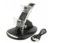 free shipping+wholesales+Blue LED Dual Charger,Controller Charging Stand Use For PS3,