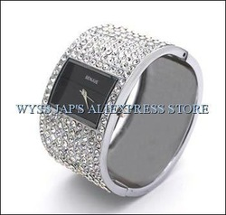 FREE SHIP * MOST POPULAR * NUMBER ONE * NEW FABULOUS LUXURY 200PCS ZIRCONS EXQUISITE WOMAN BANGLE WATCH VALENTINE XMAS GIFT SZ07(China (Mainland))