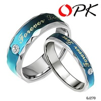 OPK JEWELRY Stainless steel ring Stainless steel couple ring for retail stainless steel ring jewelry Blue Color Forever love 270