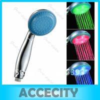 Free Shipping Romantic 15-LED Light Shower Head Water Bathroom RGB A3