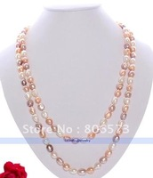 "50"" White Pink Lavender Baroque FW Pearl Necklace"