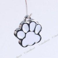 20 Enamel Footprint Pendants accessory Fit Hot Sale Fashion DIY Bead Chains Necklace 140017