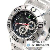 HOT Freeshipping Fine steel strap digital pointer men's watch + Box W0012