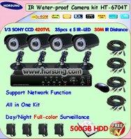 High Quality 4ch CCTV DVR Kit with 500GB HDD HT-6704T