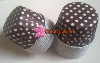Free shipping + 1000pcs Round MUFFIN CAKE WHITE DOT CUPCAKE CASES Brown