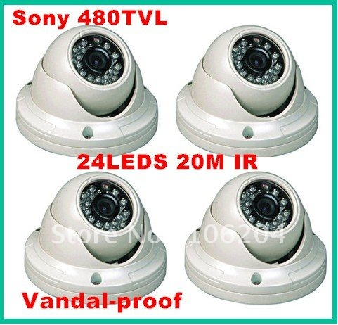 480TVL Sony Color CCD Dome Camera Board lens 6mm/3.6mm Vandalproof IR Dome Camera,4pcs/lot(China (Mainland))