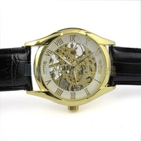 Elegant Gold Tone Skeleton Stainless Steel Transparent Dial Black PU Strap Wirst Watch 6353