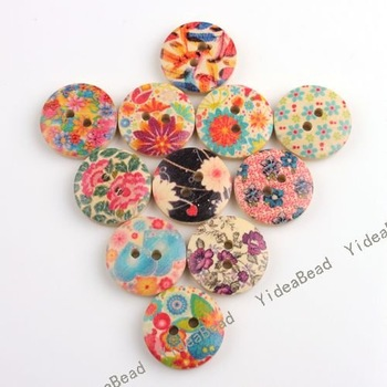 Wholesale - 160PCS Hot Sale Mixed Colorful Flowers Wooden Buttons Fit Clothes Accessories Have in Stock 110628