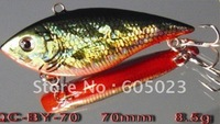 Wholesale 250pcs/lot Top Quality Game Vibe Fishing lure 70mm 8.5g plastic hard bait (5colors)