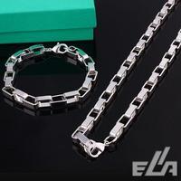 wholesale Box chain 7mm 925 Silver Jewelry 925 Silver necklace bracelet jewelry set