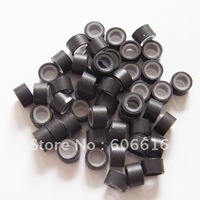 1000pcs Silicone Micro Rings Links for Hair Extensions, feather hair extension Dark Brown