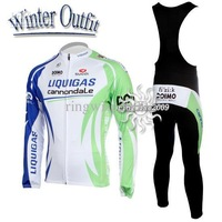 Free Shipping!!MEN'S WINTER THERMAL FLEECE CYCLING JERSEY+BIB PANTS BIKE SETS CLOTHES LIQUIGAS-SIZE:XS-4XL