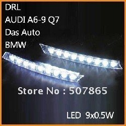 DRL A6 Q7 Style White Euro Style 18 LEDs Daytime Running Lights fog lamp kit Free Shipping