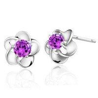 Free Shipping !!! SO0321,925 Silver Zircon Flower Shaped Stud Earring