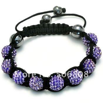 Newest Black Macrame String, Purple Crystal Pave Ball Beads, Adjustable Rhinestone Shamballa Bracelets With Hematite Jewelry