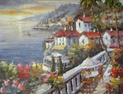 Free shipping Mediterranean oil painting on canvas JYJDZH042(China (Mainland))