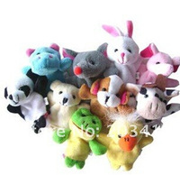 10pcs/lot/pack mixed cartoon cute Animal Finger Style fur Puppets Set 10 MIX PLAY STORY Toy Party Favor doll baby cn post whcn
