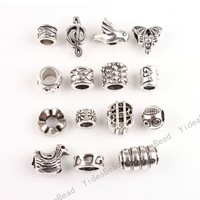 120pcs NEW Mixed 15 Design Alloy Charms Beads Metal Spacer big hole beads Fit European Chains Bracelets 151624