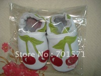 Guaranteed 100% soft soled Genuine Leather baby shoes /Red cherry