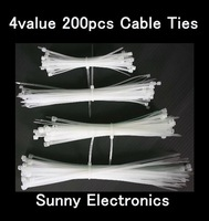 4value 200pcs White Nylon Cable Wire Zip Ties Cable Ties