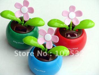Free Shipping Solar Apple Flower, Flip Fiop,Automatic Swing Sunflowers, Car Accessories 100pcs/lot