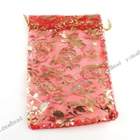 60pcs NEW Hot  Wedding Gift Organza Pouches Bags Red Rose Presant Candy Bags  120001