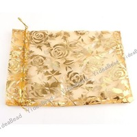 60pcs New Design Wedding Gift Organza Pouches Bags golden Rose presant Candy Bags  120004