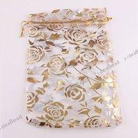 60pcs NEW Wedding Gift Organza Pouches Bags white  Rose presant Candy Bags  120007