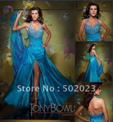 TB034 Free shipping Tony Bowls best selling A-line ball sexy strapless sequins designer beaded designer prom dresses 2011(China (Mainland))