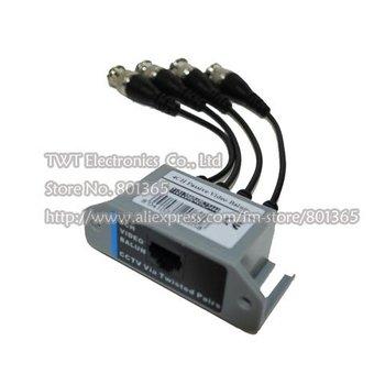 UTP 4Ch Passive Video Balun Transceive CAT5 CCTV BNC Video Balun Transceiver with Cable, CCTV  Balun,   Free shipping