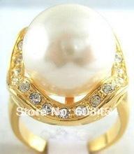 Stunning white shell pearl 18KGP ring size:7.8.9 & gift/ Free Shiping 1Pcs(China (Mainland))
