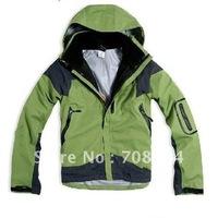 free shipping three adhesive ,waterproof,windproof male jacket,GREEN