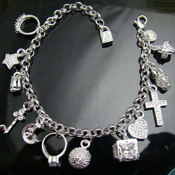 Bracelet Wholesale free shipping Fashion 925 silver / 925 silver jewelry bracelet,925 silver bracelet pendant charm LKB065(China (Mainland))