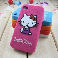 free shipping, Hot Sell hello kity silicon skin Cover case for iphone 4s 4