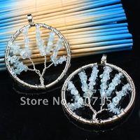 Mixed ORder! Handmade Wire Wrap Life Tree Aquamarine Agate Gemstone Chips Beads Round Circle Pendants