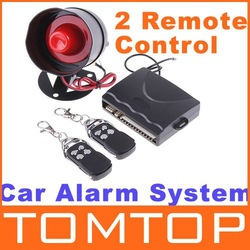 Car alarm security system 1-Way Car Alarm Protection System with 2 Remote Control auto burglar alarm system free shipping(China (Mainland))
